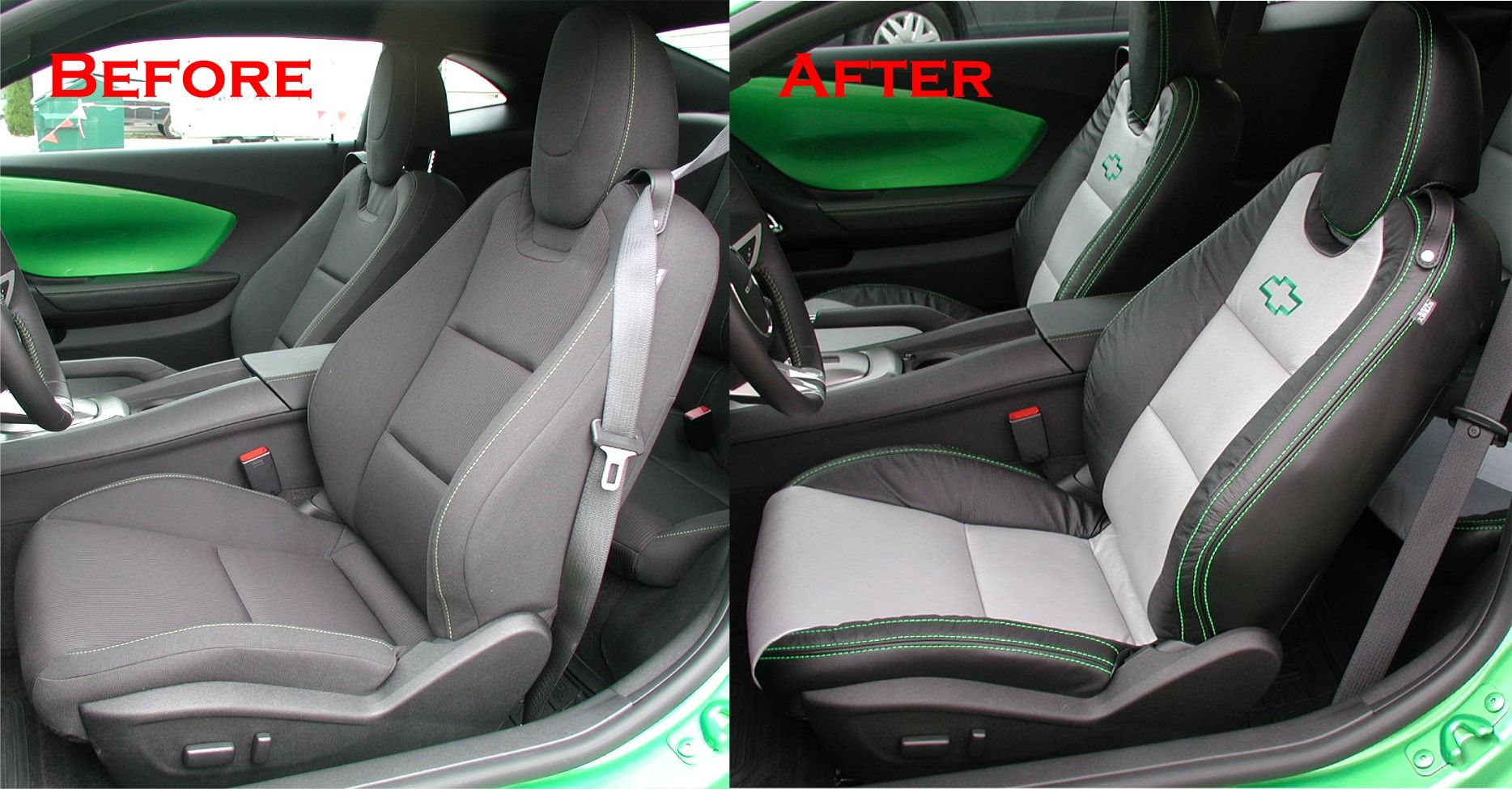 Custom Automotive Leather Interior Two Tone Contrast Stitching Chevy Bowtie Synergy Green
