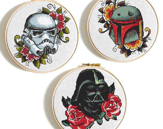 Star Wars cross stitch Floral Darth Vader pattern Disney Cross ...