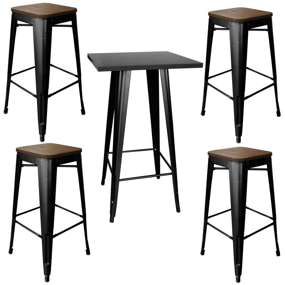 AmeriHome Loft Style Metal Bar Table Set in Black with Dark Elm Wood Top (5- Piece)-BSSET36 - The Home Depot  sc 1 st  Pinterest & Loft Style Metal Bar Table Set in Black with Dark Elm Wood Top (5 ...