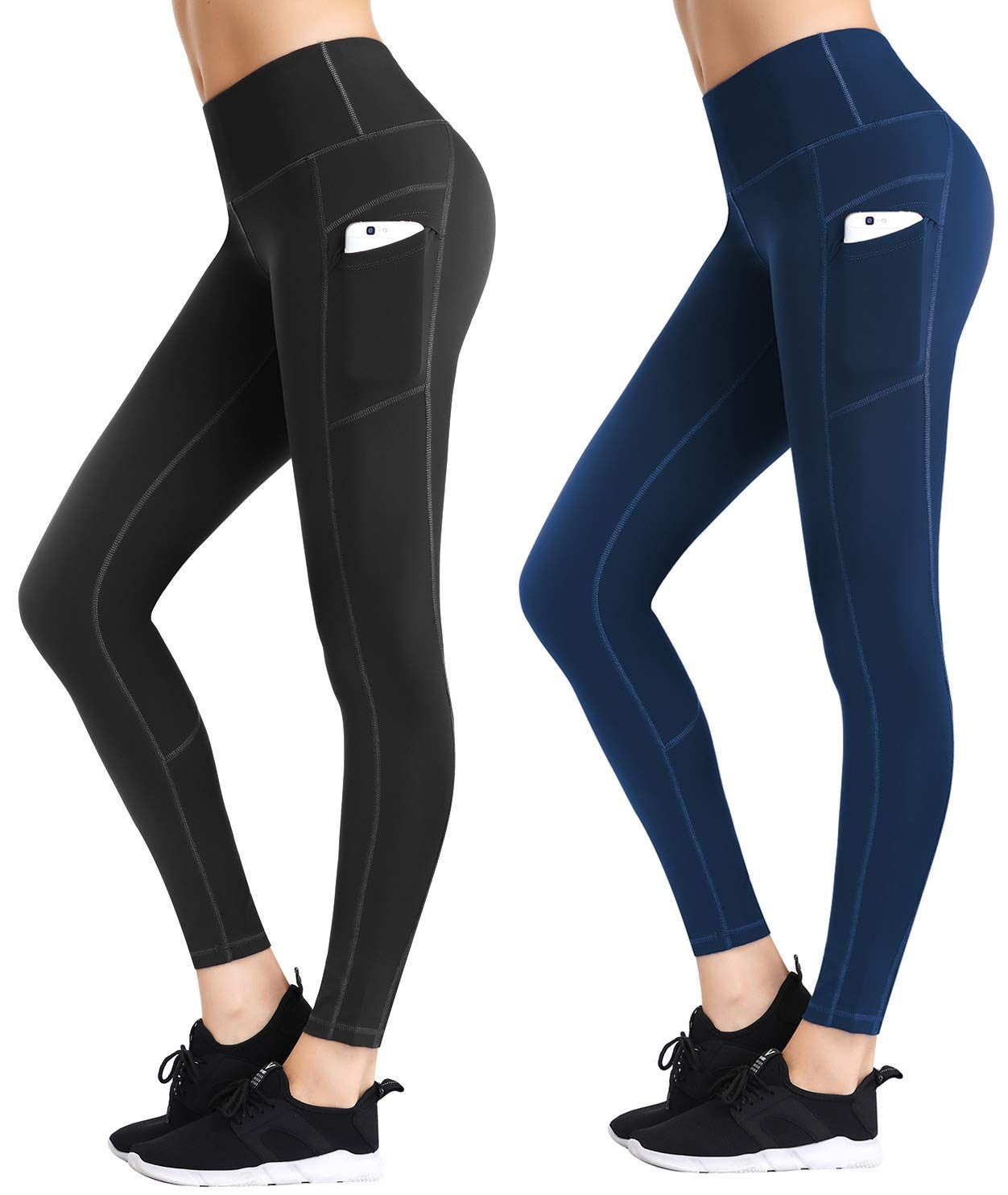 LifeSky Yoga Pants for Women with Pockets High Waist Tummy Control Leggings 4 Way Stretch Soft Athletic Pants Packs of 2