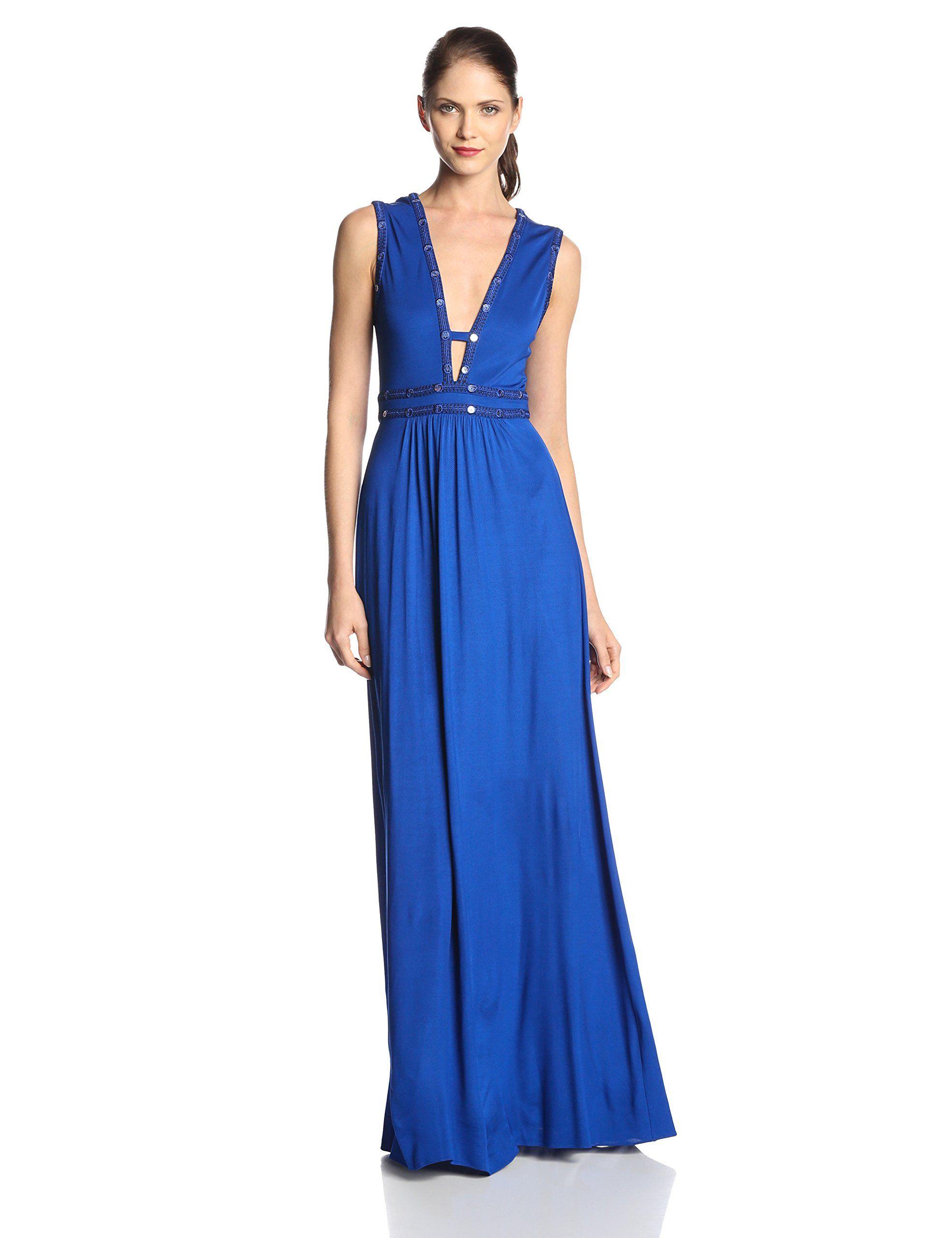Bcbgmaxazria womenus juliette embellished vneck evening gown at