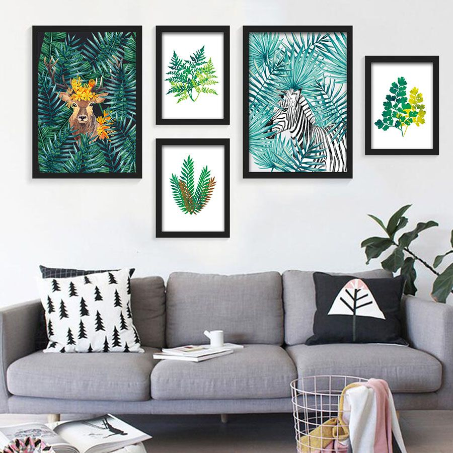 Nordic watercolor plant tropical leaf flower cactus a4 canvas art poster printing wall pictures for modern home fashion decor affiliate