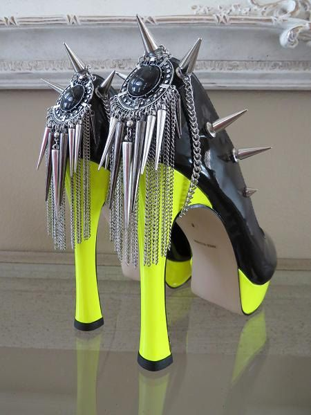 High Heel Platform Spiked Women Shoes Black Neon Yellow  size 8 1/2....A SpikesByG Design on Etsy, $99.00