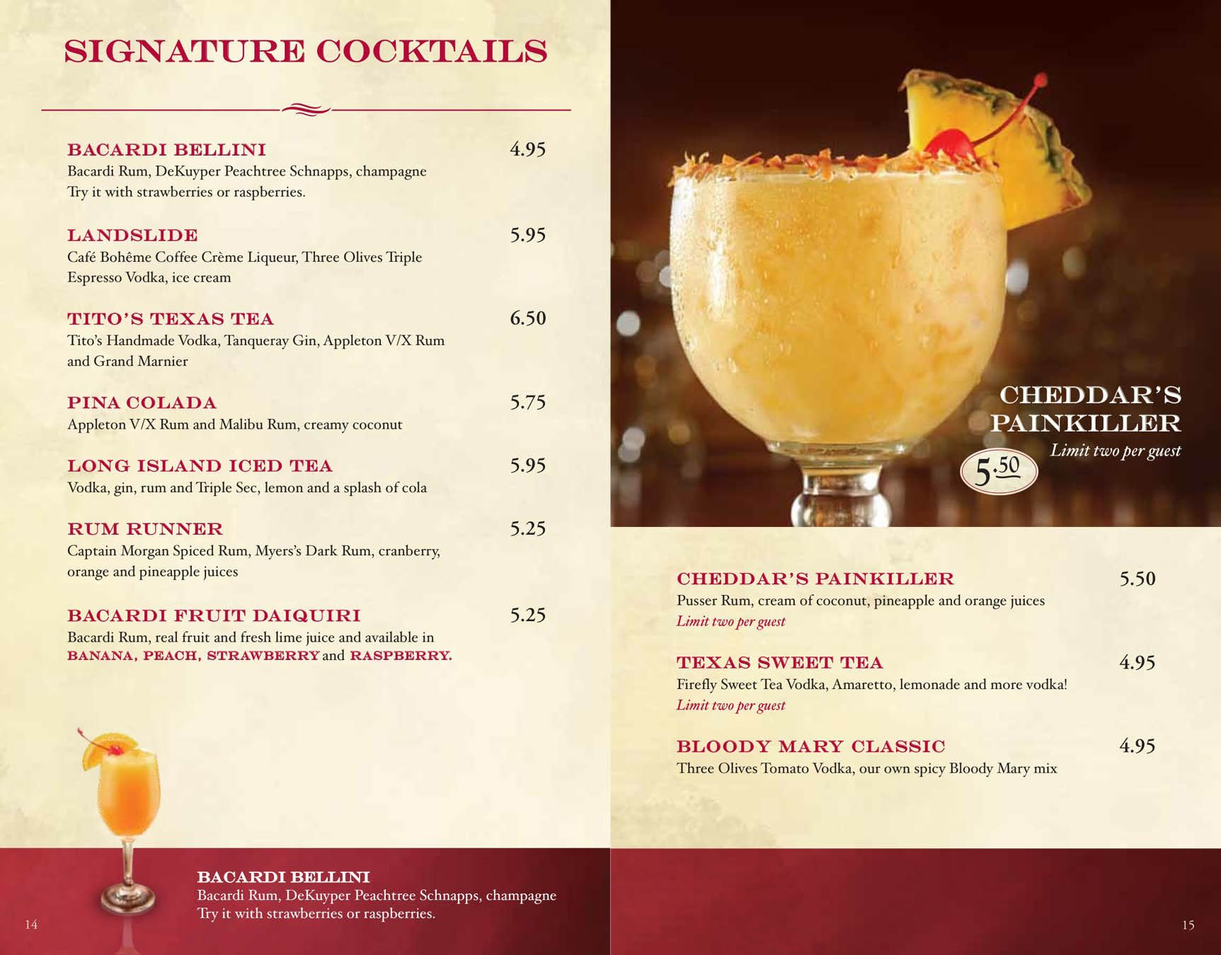 Cheddar S Drink Menu Bacardi Rum Espresso Vodka Drink Menu