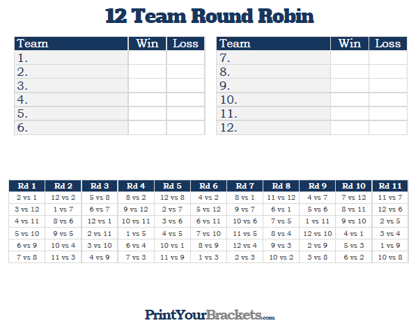 Printable 12 Team Round Robin Tournament Bracket Tournaments Golf Drawing Robin
