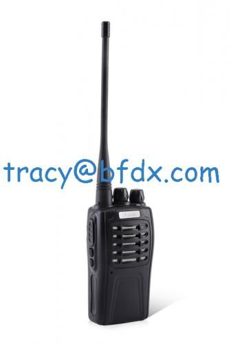 Frequency range VHF: 136-174MHzUHF: 400-470MHz/350-390Channels: 16Channel space: 25 KHz /12.5 KHzOperating temperature range: -20℃~ 60℃Antenna impedance: 50ΩPower supply: DC3.7V(±20%)Battery capacity: 2200mAh(Li-ion)Frequency stability ≤±2.5 ppmDimension:59(L)*41(W)*103(H) mmWeight:220g(including battery pack)TransmitterTransmitting power ≤3WModulated mode: 16KΦF3E(width)/8K50F3E(narrow)Spurious emissions ≤-36dBmFM noise≤-40dBAudio distortion≤5�jacent-channel power≥65 dB(width)/55 ...