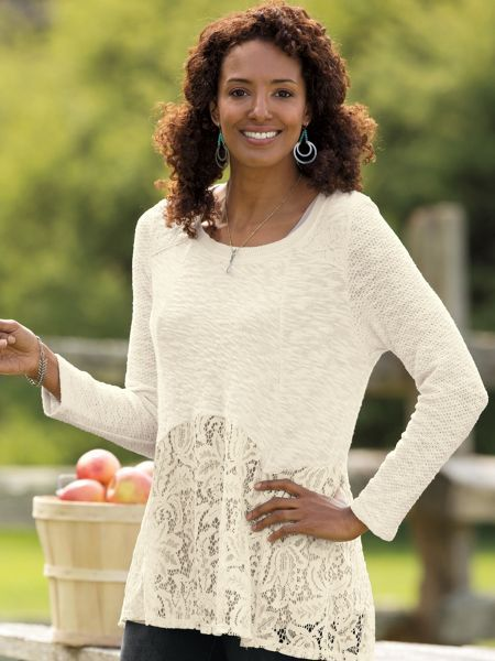 Women's Lace Tunic Sweater -our Lace Tunic Sweater, a flowaway ...