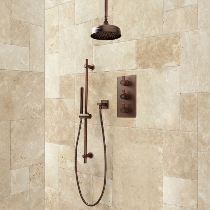Isola Thermostatic Shower System with Rainfall Shower - Modern Hand ...