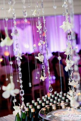 Wedding Reception Decor Cocktail Tables Consider Including Crystals And Flower Petals On