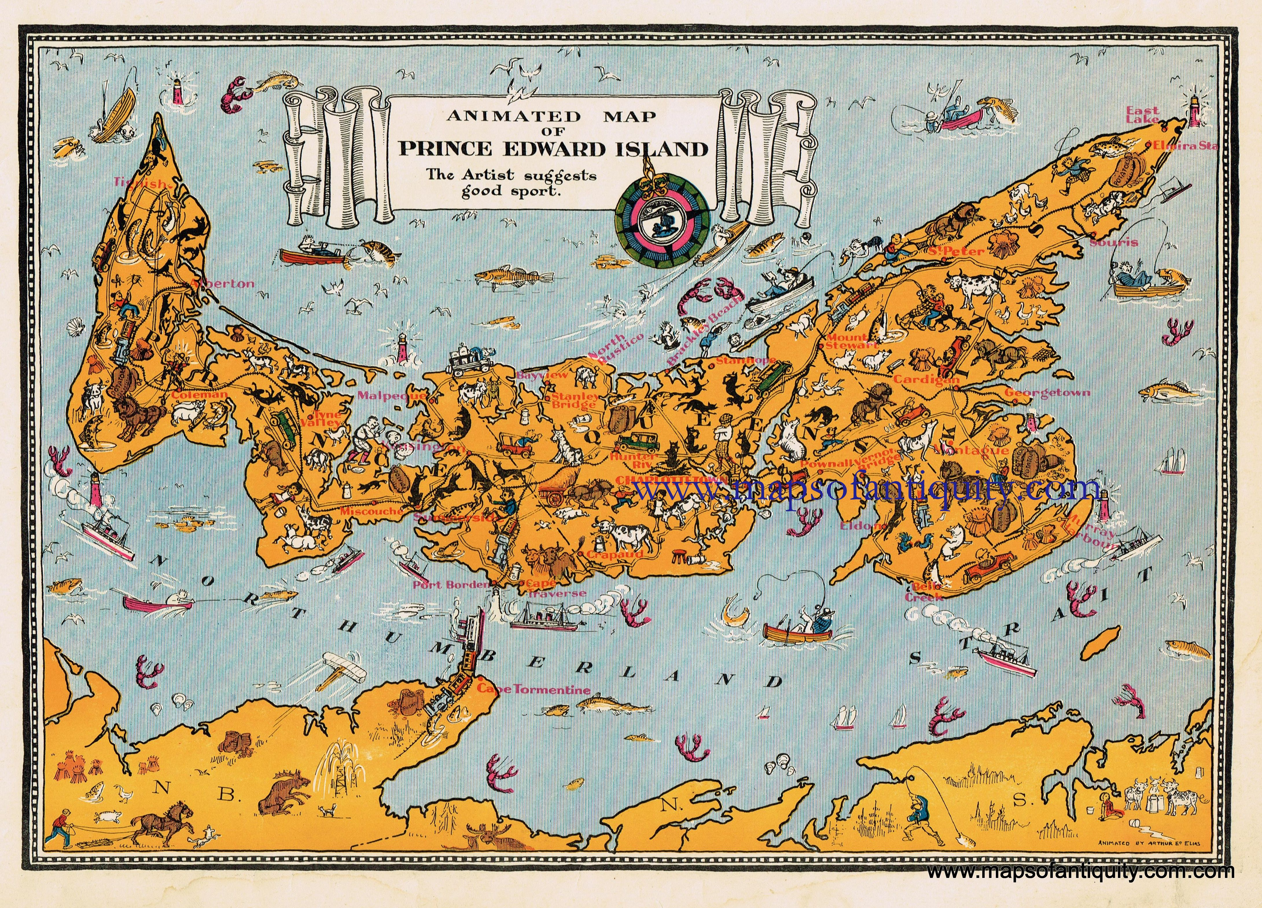 Map Of Prince Edward Island Canada Animated Map of Prince Edward Island   Antique Maps and Charts
