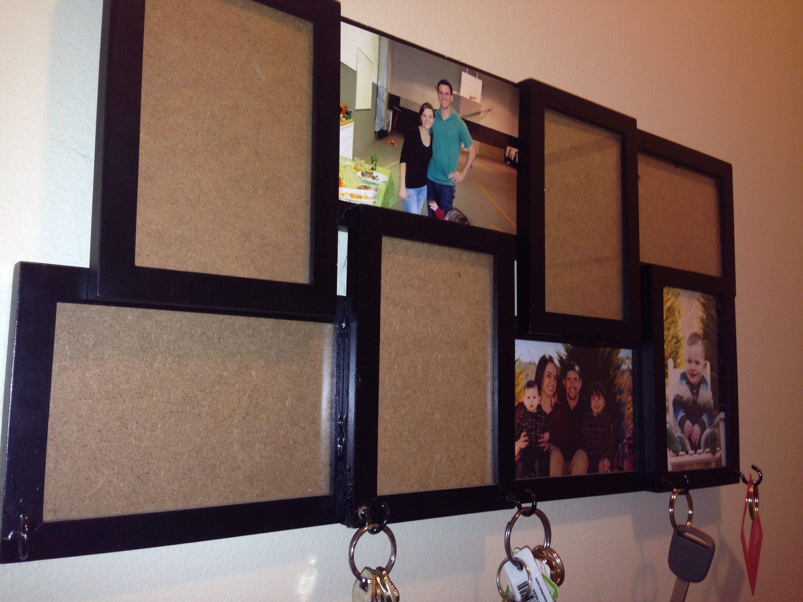 Add hooks to multi photo frame to hang keys crafty crafty