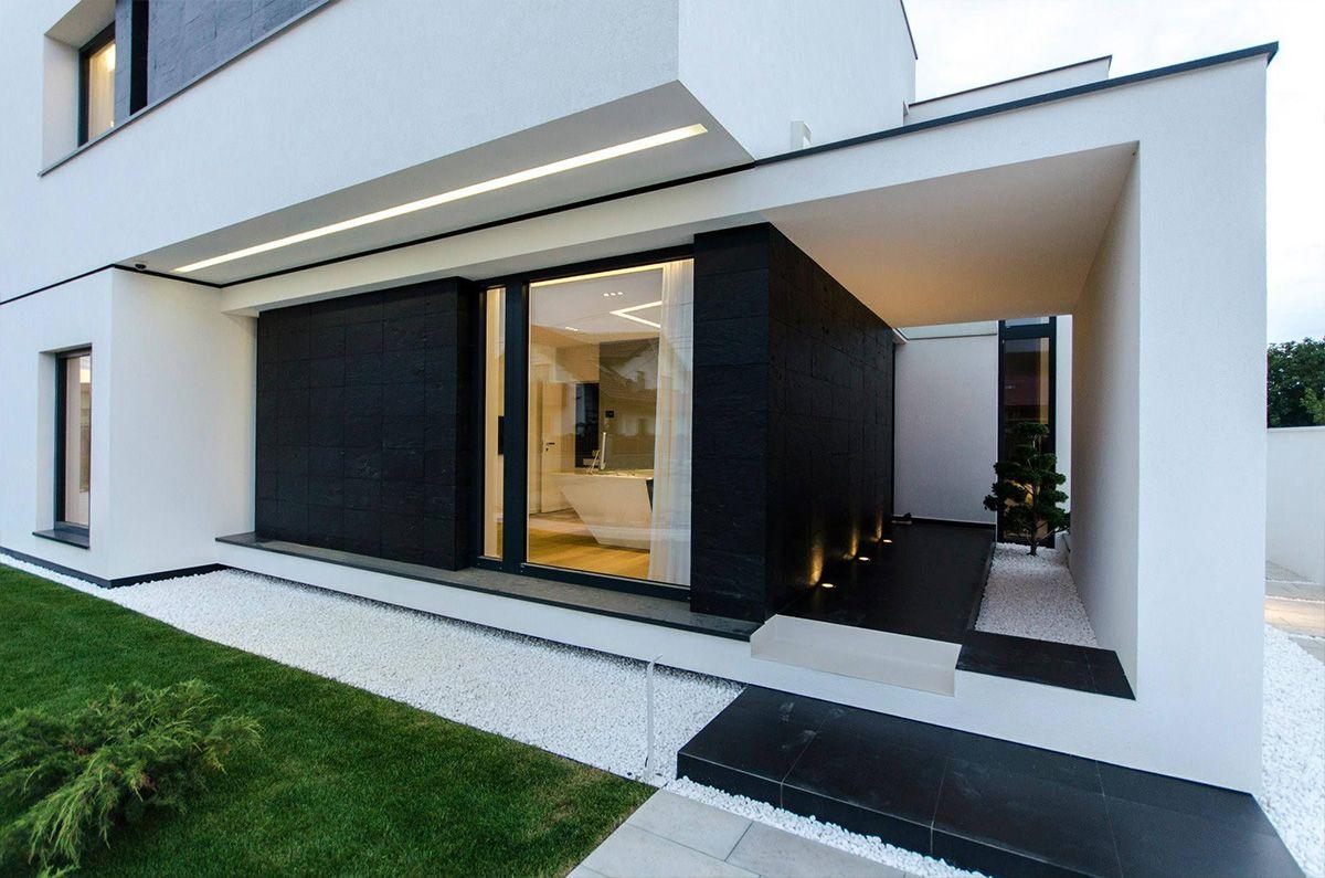 Aussen, Moderne Häuser, Moderner Eingangsbereich ...