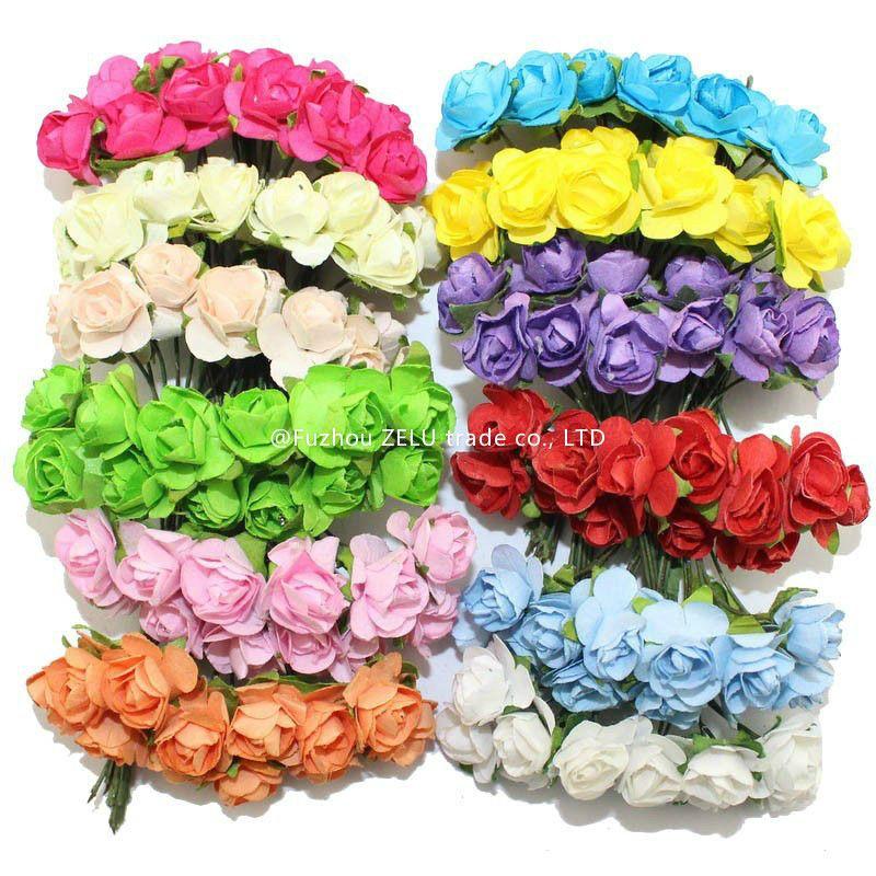 11 Colors 144pcs X2f Lot Beautiful Paper Artificial Flowers Diy