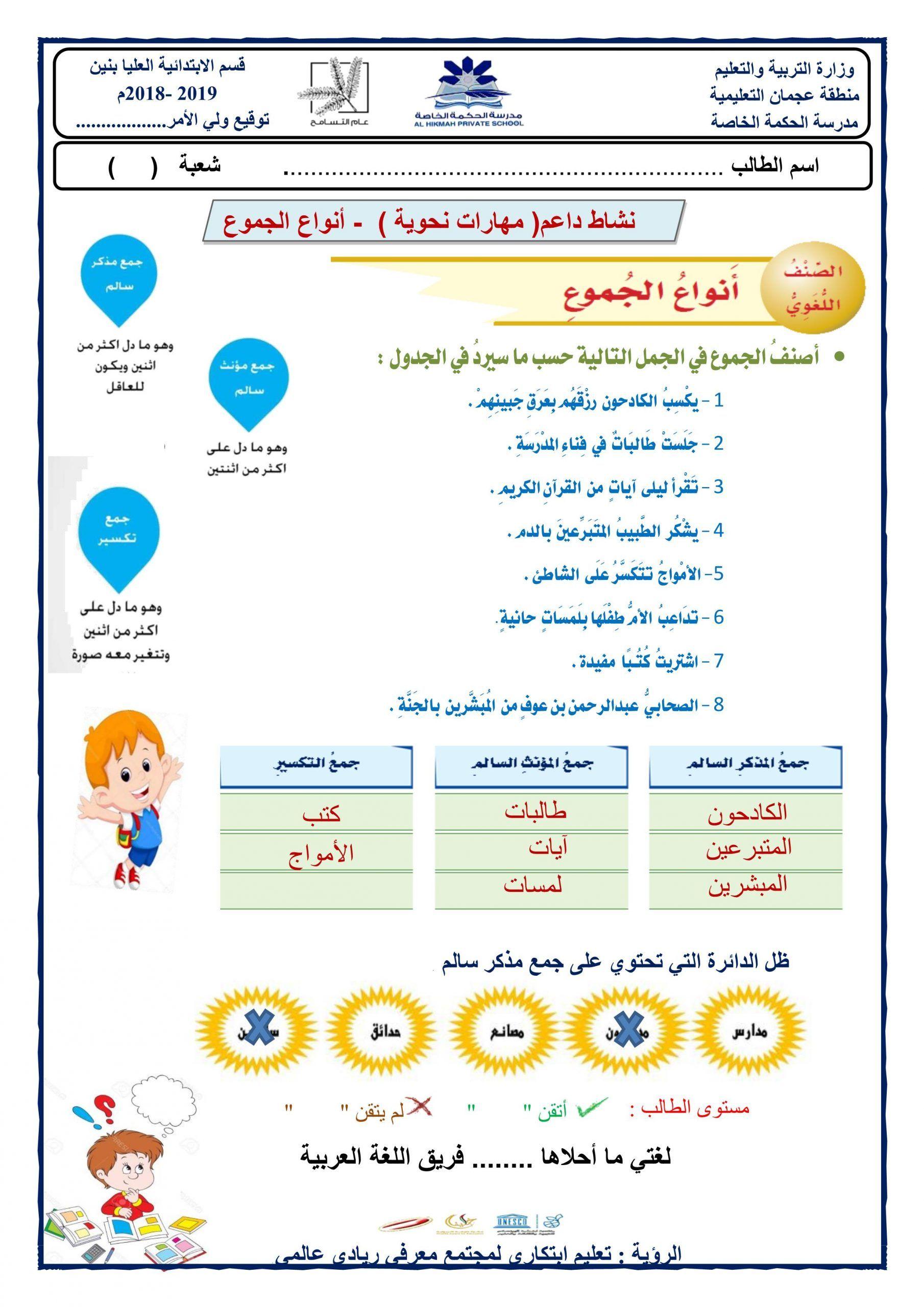 ورقة عمل درس انواع الجموع نشاط داعم للصف الرابع مادة اللغة العربية Map Map Screenshot