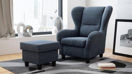 Möbelfreude® Savana05 Ohrensessel Sessel blau mit Hocker Relaxsessel deutsche Qualität Strukturstoff Luxus (Blau): Amazon.de: Küche & Haushalt