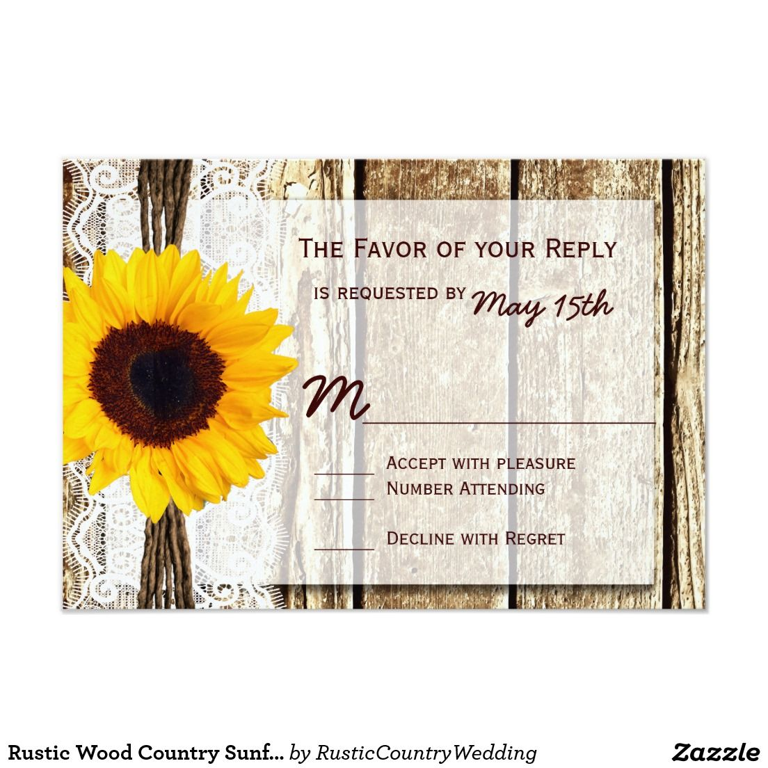 Rustic Wood Country Sunflower Wedding RSVP Cards Zazzle