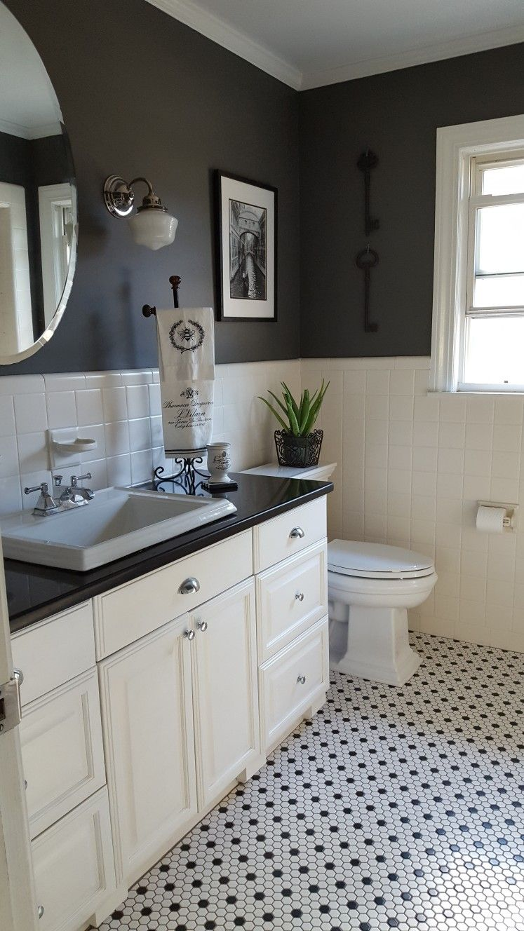 Black And White Hex Tile Floor Cabinet Color Is Swiss