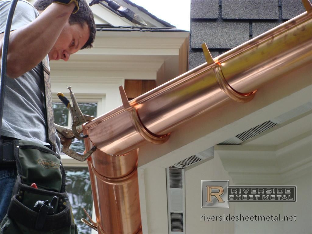 Copper Gutters Half Round Copper Gutter Installation Riverside Sheet Metal Gutters Copper Gutters How To Install Gutters