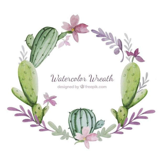 Download Watercolor Wreath With Flowers And Cactus For Free In
