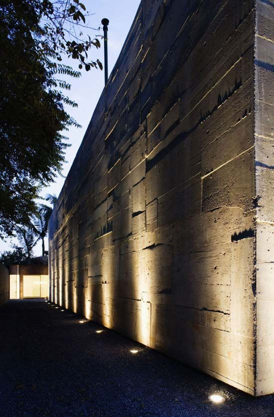 Minimalist Exterior Lighting.. Let This Be Covered With Plants!!! Lovely!!