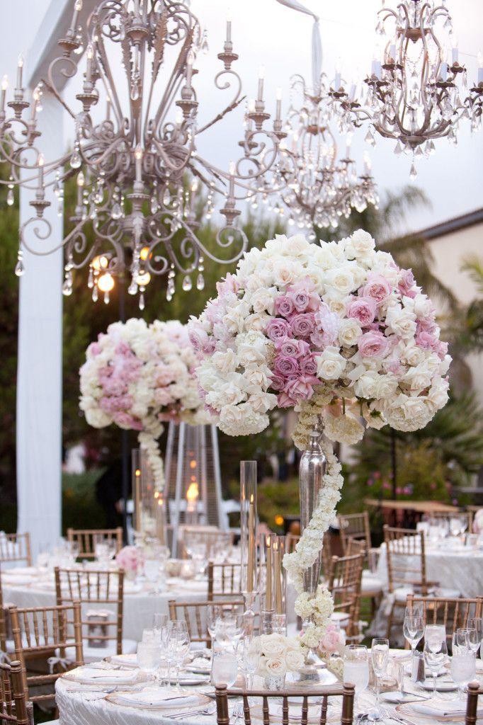 Terranea Resort Wedding Tall wedding centerpieces