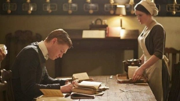 Daisy helping Alfred study for his cooking test: ITV for MASTERPIECE
