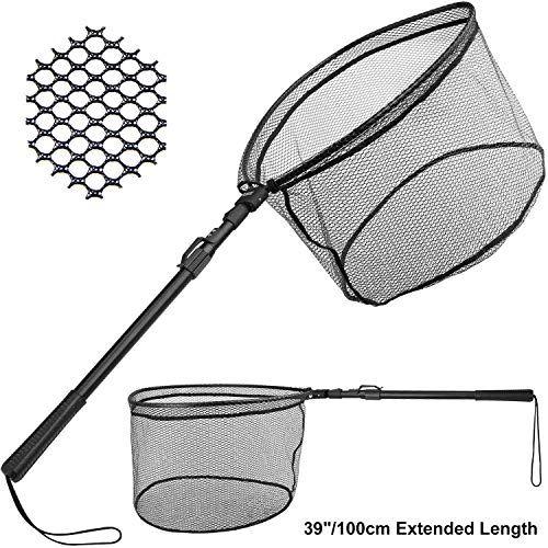 Folding Fishing Net Mesh Fish Landing Net Collapsible Foldable Pole Handle New