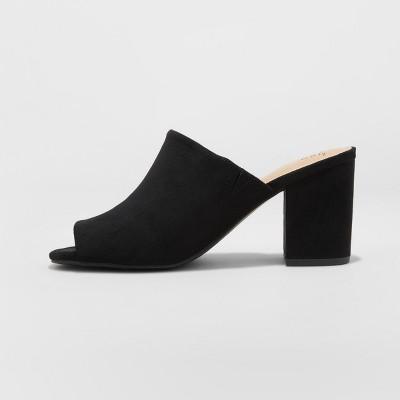 cd5ed126ee8 Women's Didi Wide Width Block Heel Mules - A New Day™ Black 12W in ...