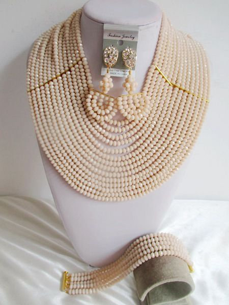 Fashion costume jewelry set nigerian wedding african beads jewelry set crystal beige ABD710
