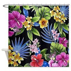 Beach Shower Curtain Tropical Flowers Curtains Store