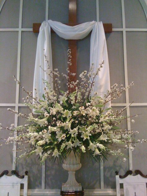 I've done my fair share of church flowers. Especially at Easter. The day before was always spent cutting blooming branches, stripping roses and pulling stamens out of Easter Lilies. I have very few...