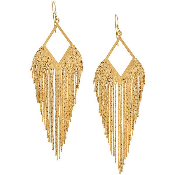 Panacea Golden Fringe Drop Earrings 21 Liked On Polyvore Featuring Jewelry Gold Chain