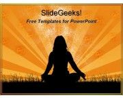 Girl sitting in yoga pose with hands on knees meditating thinking free powerpoint templates ppt themes presentation backgrounds