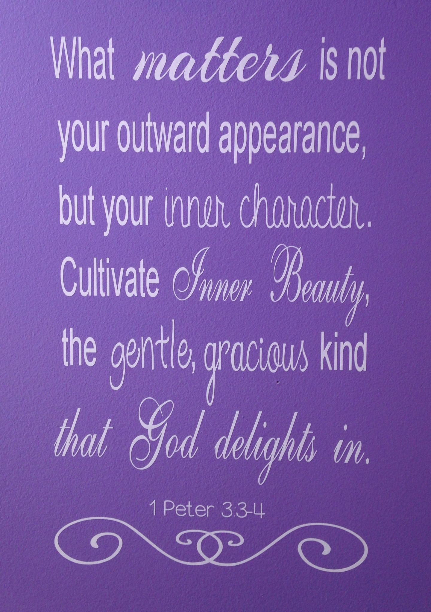DIY vinyl wall decal using Silhouette Cameo 1 Peter 3:3-4 ...