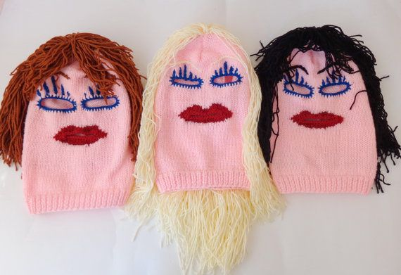 Monster Mask- Knit Pink Ski Mask Handmade 3 Hole Blond Black Brown Red  Halloween Mask Halloween   Cosplay d896fa5e0