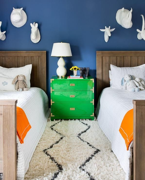 Green Boys Room: Beautifully Decorated Shared Boys' Bedroom Features A