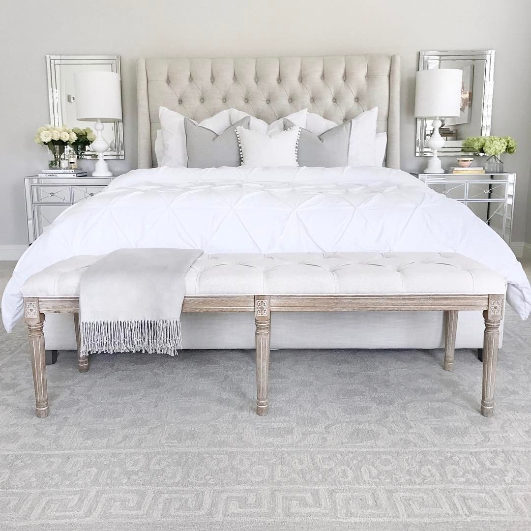 Tufted linen bed classic gray benjamin moore walls mirrored tufted linen bed classic gray benjamin moore walls mirrored nightstand white table lamp tufted linen bench white bedding and pillows crystal table aloadofball Images