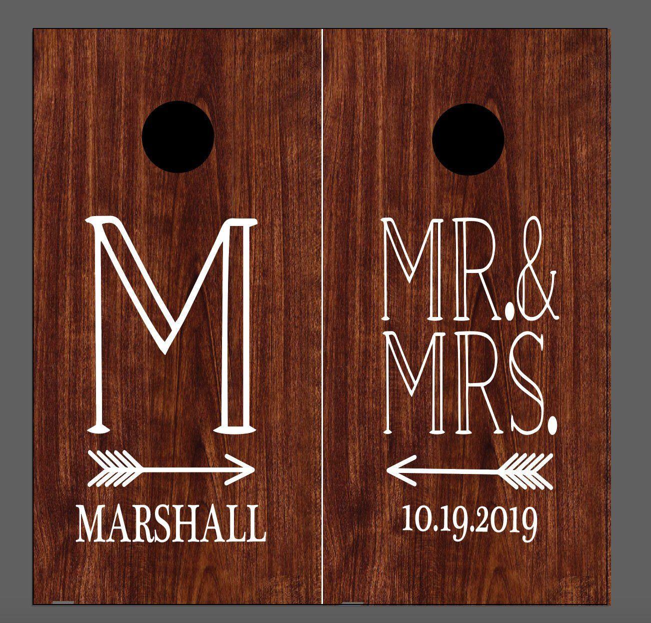 Wedding Initial Last Name Established Date and Wreath Custom cornhole decal Vinyl Decal Stencil-Wedding-Birthday-Party Decor Anniversary