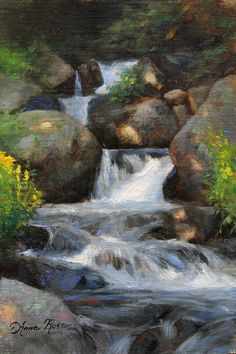 Summer Falls By Anna Bain Waterfall Art Waterfall Paintings Fall Canvas