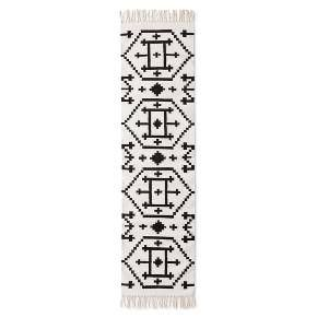 Black White Clic Accent Rug 1 10 X7 From Nate Berkus This Patterned Runner Uses Contrasting And With Soft Fringe Accents