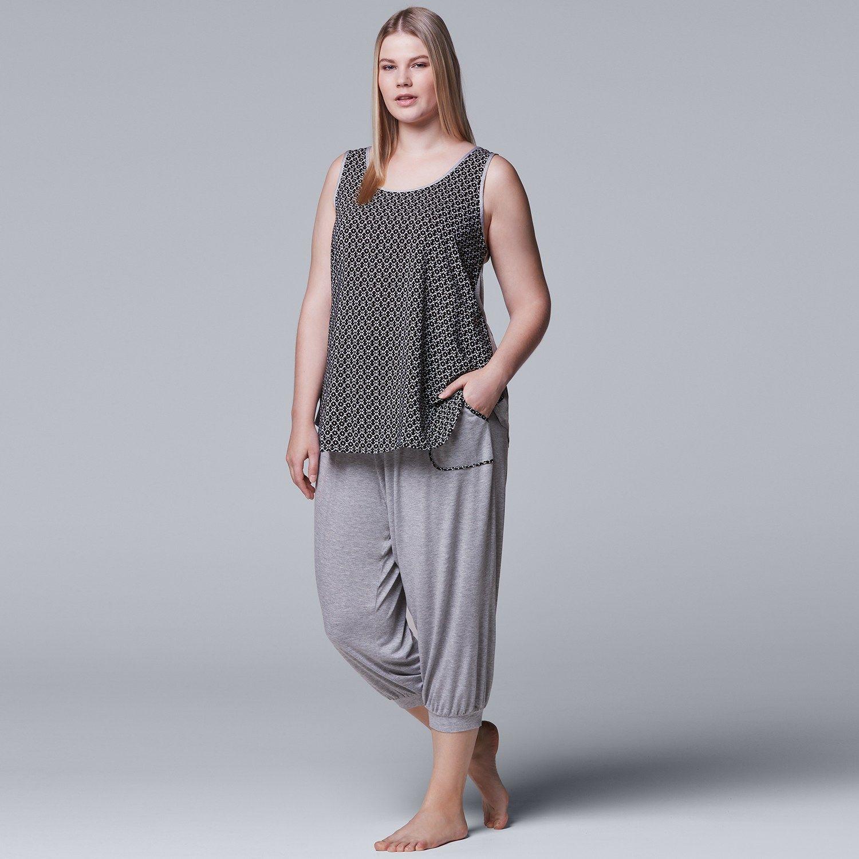 23cfea70a Plus Size Simply Vera Vera Wang Tank   Jogger Capri Pajama Set ...