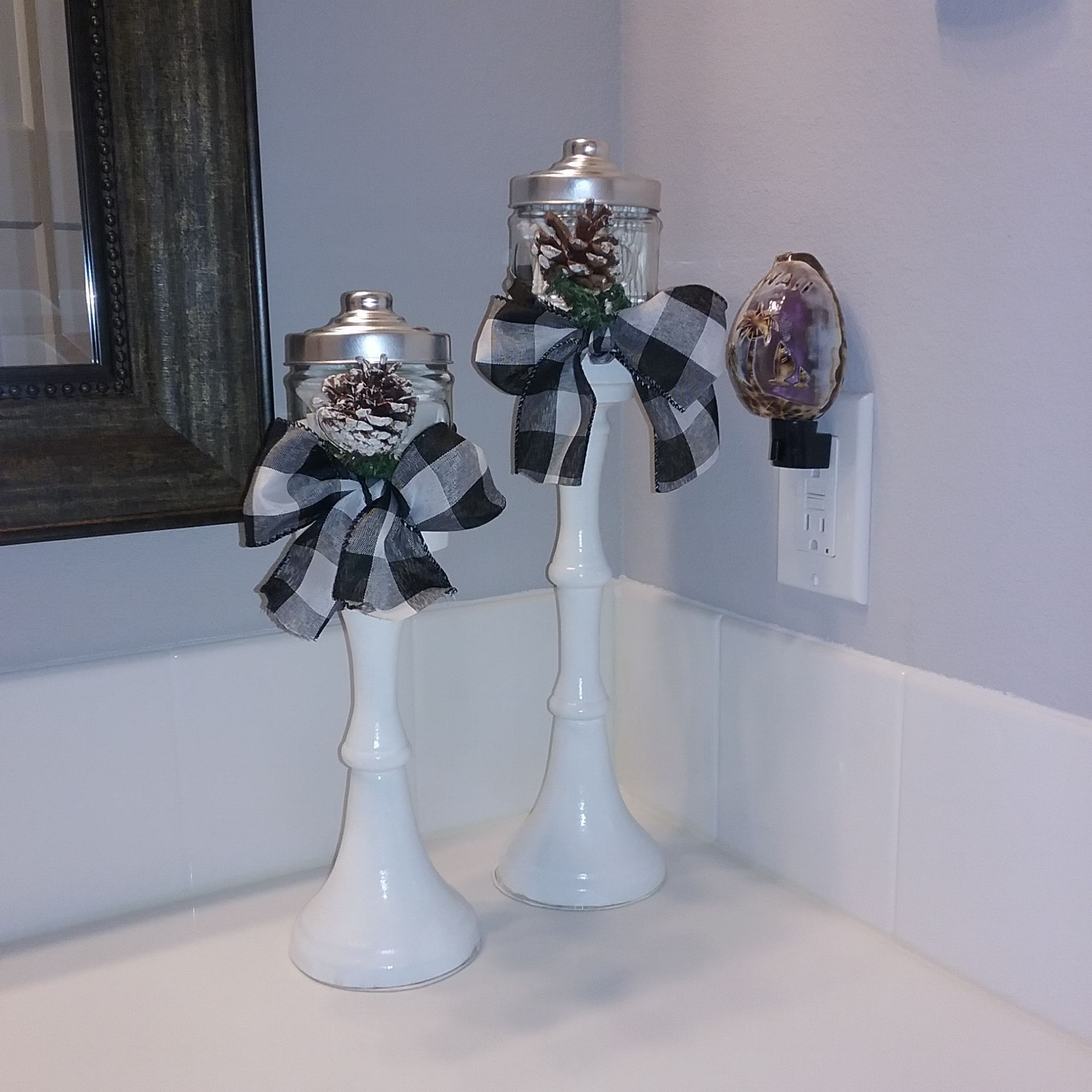 These fun holders were created with old pillar candlestick