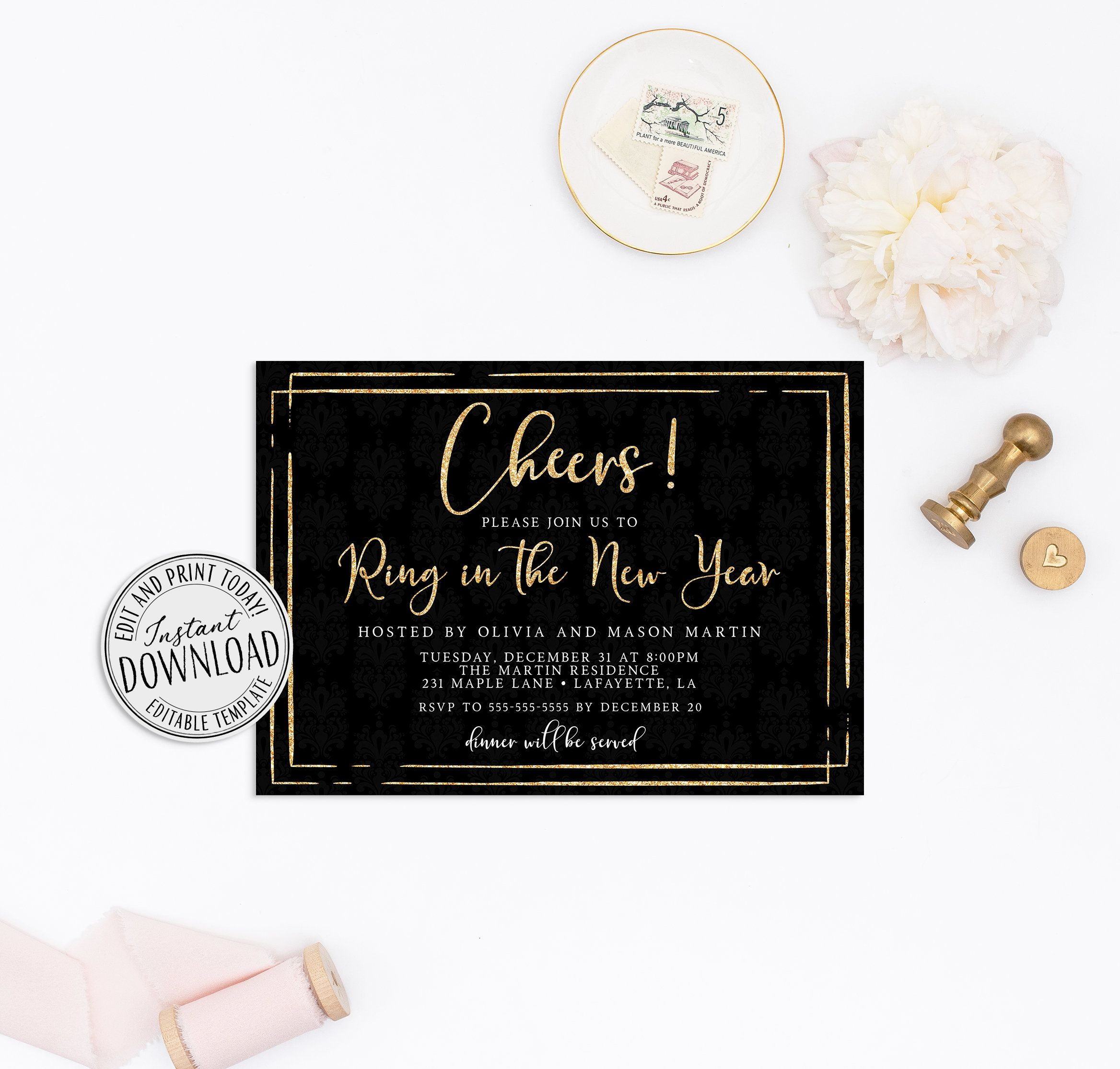 New Years Eve Invitation Template Instant Download • New