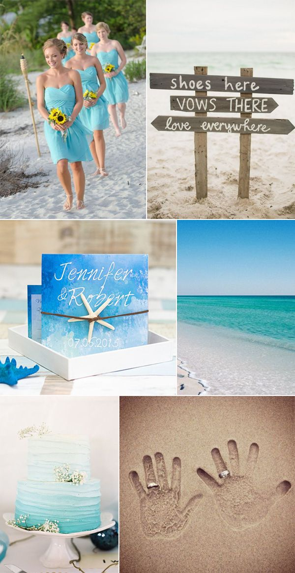 Shades Of Blue Beach Wedding Ideas And Invitations Theme Dresses Cakes