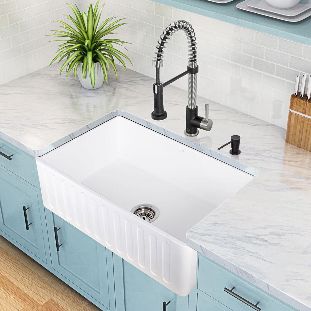 Farmhouse Reversible Apron Front Matte Stone 30 In. Single Basin Kitchen  Sink In White