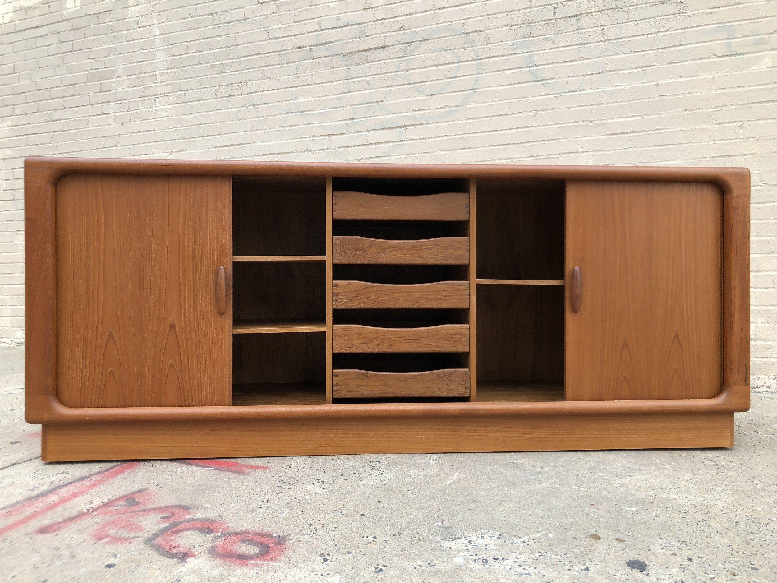 Dyrlund Danish Credenza : Dyrlund teak tambour door credenza denmark 1970s. 74.5u201d width 19