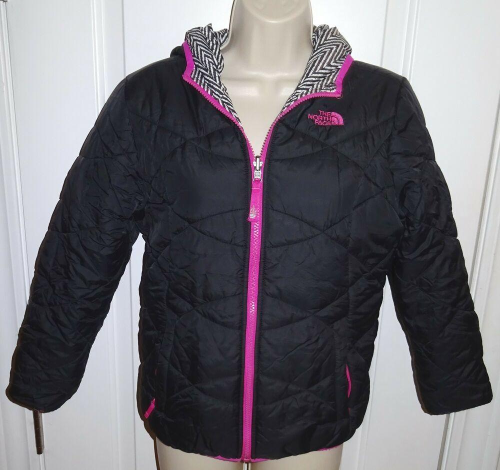 b14d10124 North Face Puffer Jacket Luna 550 Black Pink White Reversible Sz 14 ...