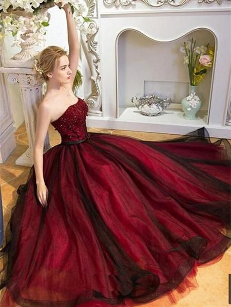 A-line Princess Sweetheart Neck Prom Dresses, Burgundy Evening ...