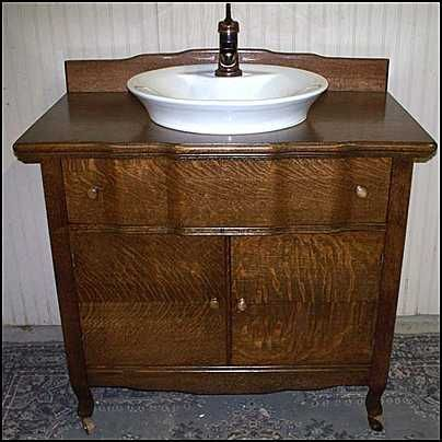 Photo Of Front View Antique Bathroom Vanity Antique American Oak - Antique bathroom vanity with vessel sink