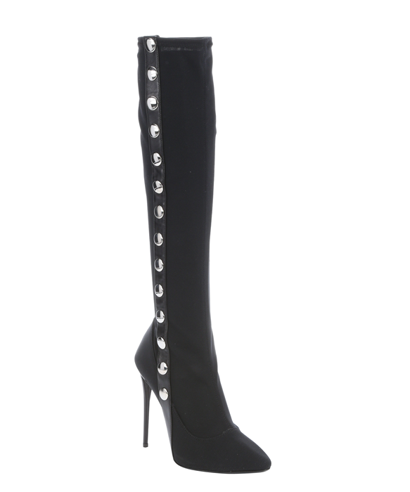 dff8693d12c87 Giuseppe Zanotti Black Mesh Snap Side Knee High Stiletto Boots   Bluefly.Com